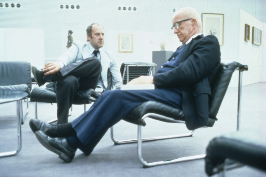 Norman Foster and Buckminster Fuller in the Sainsbury Centre, 1978