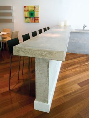 Countertops were formed in place using a standard mix, then polished and finished.