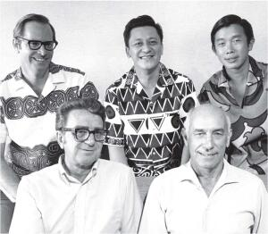 "WATG's founders: (front row, left to right) George J. ""Pete"" Wimberly, George Whisenand; (back row, left to right) Jerry Allison, Greg Tong, Don Goo."