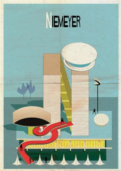 "The illustration for ""N"" features Oscar Niemeyer's eye-shaped museum in Curitiba, Brazil."
