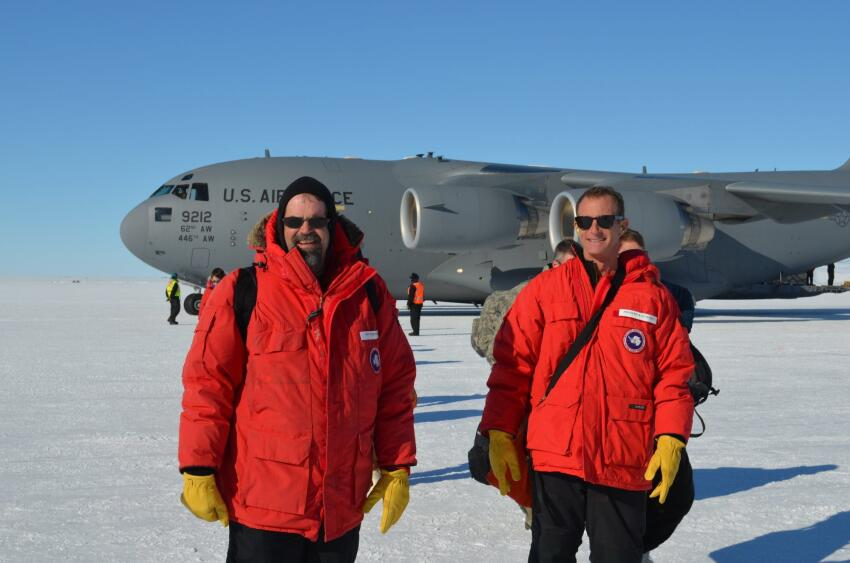 Rick Petersen and Don Schieferecke, principals of OZ Architecture, after landing at McMurdo last year.