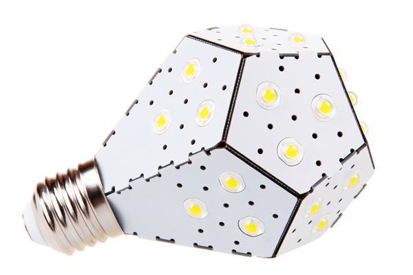 A bent circuit board and omnidirectional LED display helps this lamp mimic a conventional A19 shape.