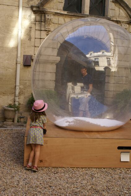 A snowglobe installation by the designers, engineers and manufacturers of Toulouse-based Archicool Collectif.
