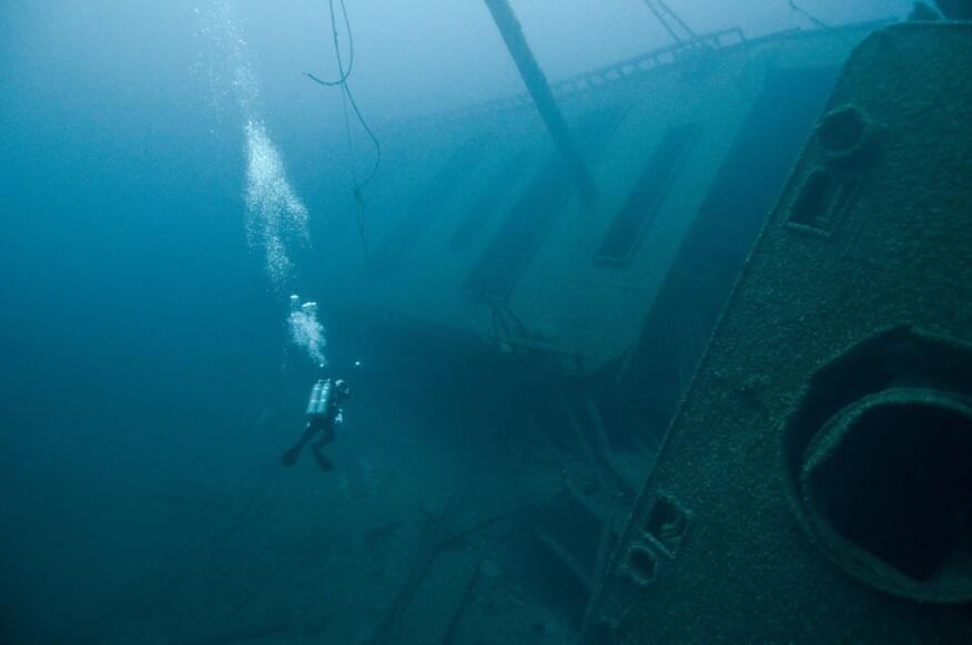 A diver explores the Green Lantern shipwreck in the Gulf of Mexico.