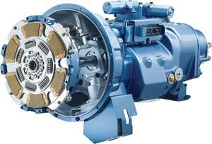 The Eaton UltraShift Plus transmission has its control module and X-Y actuator (shift mechanism) above the gearbox and a clutch actuator in the bell housing. Photo: Eaton Corp.