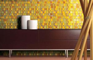 Liberty is a new collection of colorful transparent glass mosaic tiles from Miami-based Trend USA. Made from hand-cut glass, the tiles are produced in a variety of idiosyncratic but compatible shapes and then assembled on a sheet measuring roughly 12 inch