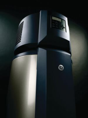 GE. With an Energy Factor of 2.3, the GeoSpring heat-pump water heater exceeds current Energy Star requirements and consumes 62% less energy than standard electric water heaters, the maker says. The unit features a backlit LCD display that allows homeowners to choose from four different modes to adjust to changing hot water needs. A vacation setting drops the systems temperature set point to 50 degrees F to save energy, while also preventing the water from freezing. 800.626.2005. www.geappliances.com.