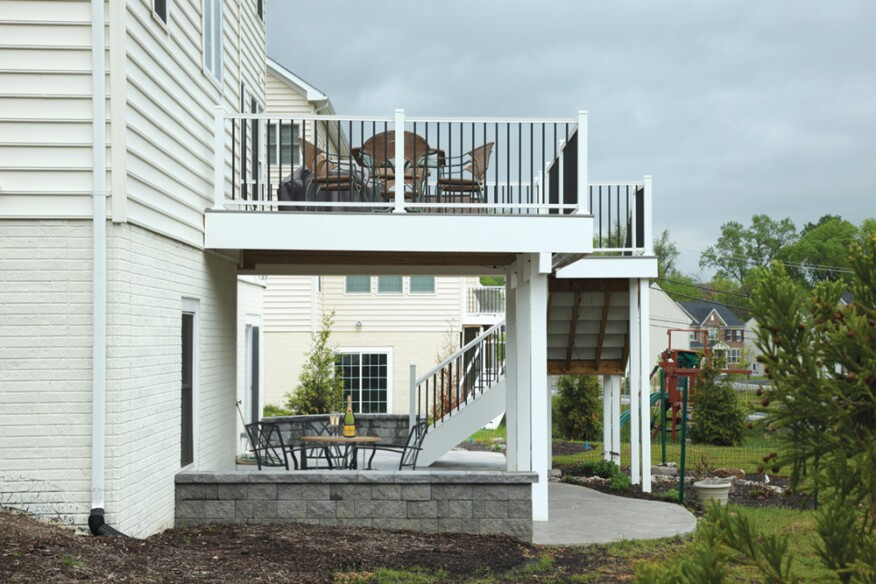 Adding dry space underneath an elevated deck is an easy upsell, whether the deck is a relatively small one or a larger, multi-level structure.