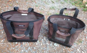 The CT-XL (left) is larger than the CT-LC (right). The totes are easy to load because they stand up and stay open when empty.
