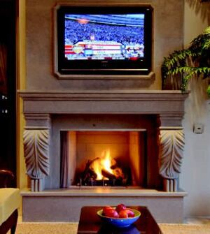CATCH FIRE: Because the ambiance of a fireplace is appreciated in Florida, the home has  three from Lennox Hearth Products, including a 42-inch Lennox Elite stainless  steel outdoor gas unit and a Superior vent-free unit. The Elite offers 60,000 BTUs, optional  bifold doors, and a herringbone brick pattern liner. The  Superior unit has the look of a traditional fireplace and has a built-in  convection system.