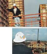 Above: Workers tapped on the forms to check the level of the lift. Right: During the pour there was one worker on scaffolding inside the core and a second with the pump operator on a scissor lift on the outside of the core.