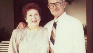 Pool industry pioneer, Leon Bloom, poses with his wife Dorothy.