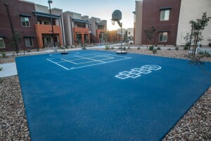 The redevelopment of Madison Heights also includes an array of amenities, including a multi-use sport court.
