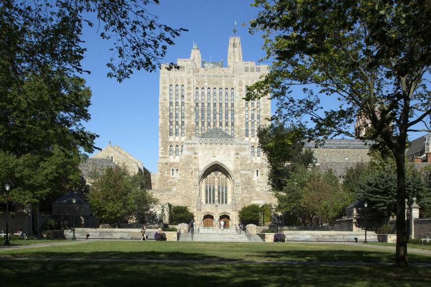 Sterling Memorial Library at Yale, originally designed by architect James Gamble Rogers, overlooks the university's central quadrangle.