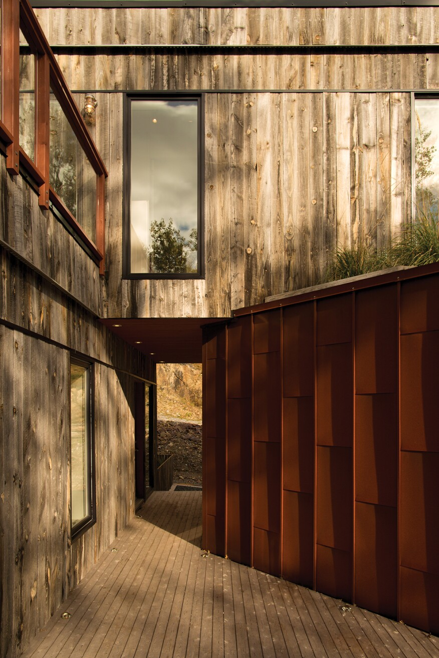 Reclaimed wood from snowfences and Cor-Ten steel clad Into the Wild, an urban retreat for a poet-and-designer couple in Saint John.