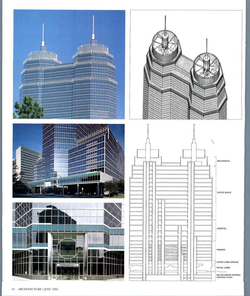 "Details and photographs depicting St. Luke's Medical Tower in Houston, Texas, designed by Pelli Clarke Pelli Architects (then Cesar Pelli & Associates), in the 1991 edition of ""Architecture Magazine."""