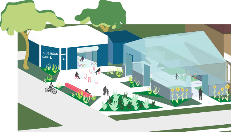rendering of greenhouse-to-cafe system via Avalon Village