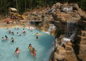 In building a new indoor  waterpark, Vermont's Jay Peak resort plans to theme based on  the local character and resort environment. The approach is similar  to that of Dollywood's Splash Country (shown) in  Tennessee.