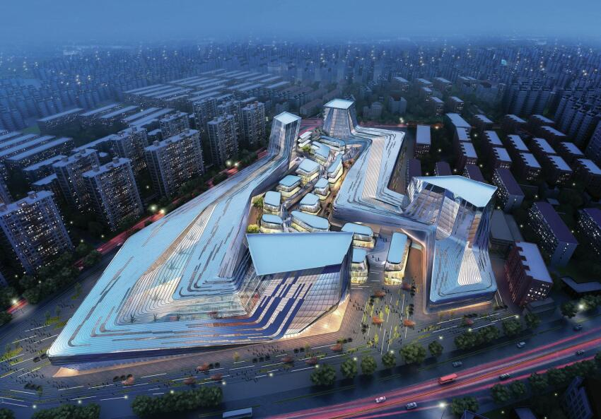 """SDA's Shanghai Wuzhou International Plaza in Shanghai, a 1,937,00-square-foot development of offices, hotel, and retail, has a circulatory """"canyon"""" that weaves between the two building volumes."""