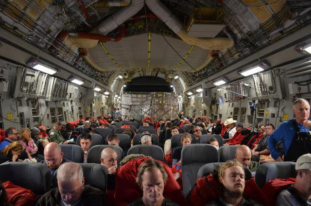 OZ architects on the C-17 Air Force cargo jet that took them to McMurdo.