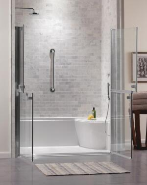 The unique design of Jason Internationals Zero-Threshold shower allows homeowners to tile the surround to complement their bathrooms aesthetics. The company has also found a stylish solution for homeowners who need bathing assistance while in the shower. Unique semi-frameless glass Dutch doors allow helpers to easily reach in without getting soaked. Imported from Italy, Jason says the doors are not available in the U.S., but it will consider offering them to customers if there is sufficient interest.