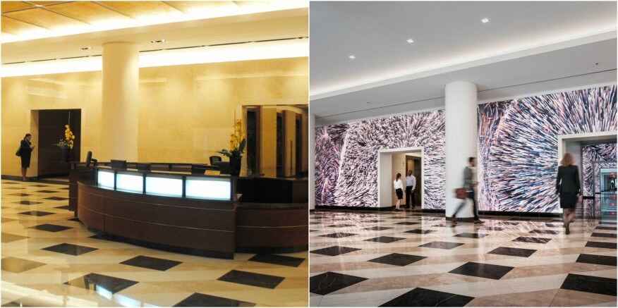 Before-and-after images of the 7th Street lobby at Terrell Place