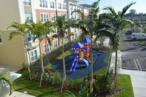 Hampton Village Apartments features a playground, a computer lab, community space, and a library for households earning 50 and 60 percent of the area median income.