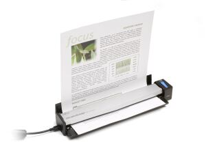Fujitsu's ScanSnap S1100 sports a flip-up paper support, saving space on a crowded desk