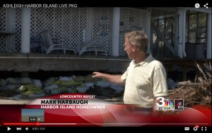Harbor Island homeowner Mark Harbaugh describes scouring damage to his beach house by waves kicked up by Hurricane Joaquin.