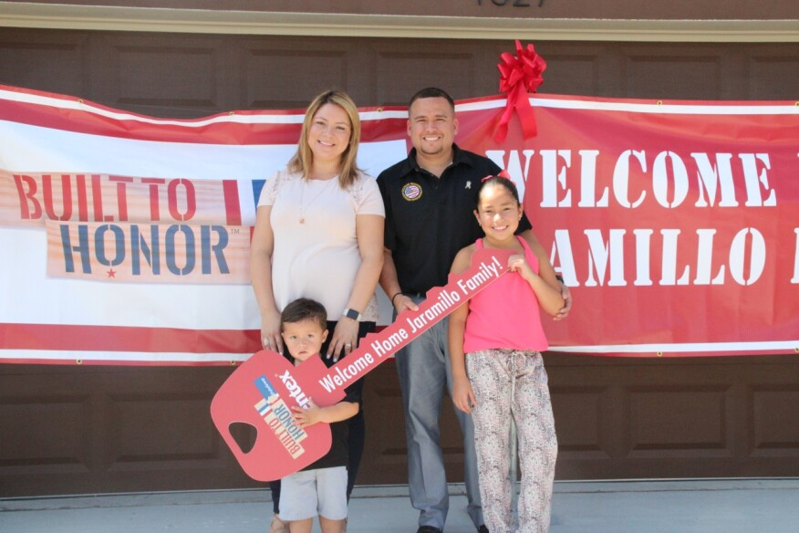 Sgt. John  Jaramillo, his wife Dania, and two young children Jazmin and John, Jr. saw their new home for the first time last week.