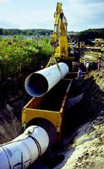 Ductile iron pipe is commonly specified for water and wastewater applications, as in this installation of 42-inch-diameter pipe.