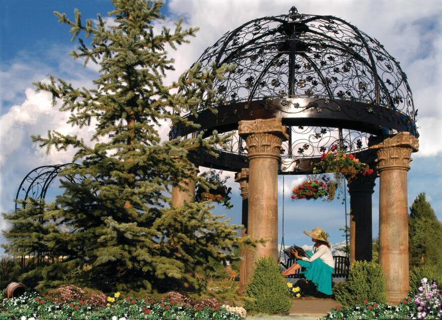 Tuscan Garden Works offers hand-wrought iron gazebos with swings.