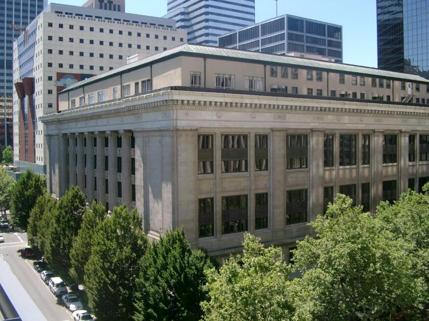 The Multnomah County Courthouse in downtown Portland, also threatened with demolition as part of the plan to build a new public services complex.