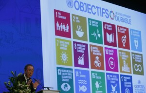 United Nations Secretary-General Ban Ki-Moon addresses the Annual Conference of Swiss Developement Cooperation in Zurich, Switzerland January 22, 2016. On the screen behind are displayed the 17 goals of UN's 2030 Agenda for Sustainable Development. (REUTERS/Arnd Wiegmann)