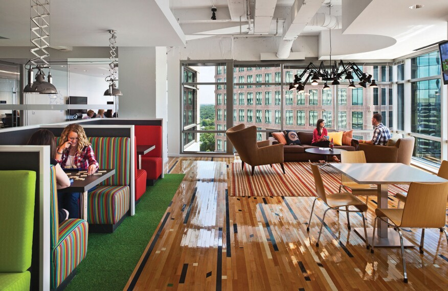 22squared's office in Atlanta, by Gensler, features workstations and meeting and collaboration spaces.