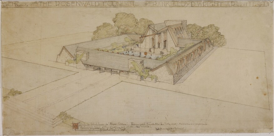 "Rosenwald Foundation School (La Jolla, California). Unbuilt Project. 1928. Pencil and color pencil on tracing paper. 12 3/4 x 25 7/8"" (32.4 x 65.7 cm)"
