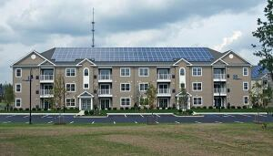A solar array on the building's roof supplies all of the common area electricity.