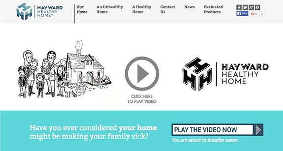 Opening screen shot for Hayward Healthy Homes website