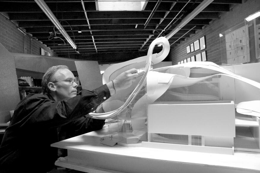 Randall Stout at work on a model of the Art Gallery of Alberta.