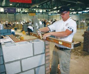 Brick apprentices were judged on proper dimensioning and layout of the walls, sizes  of cavity walls, wall heights, and number of units completed.