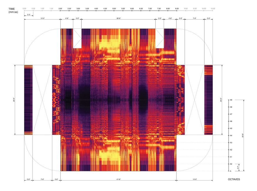 "Frequency information mapped onto the reflected ceiling plan and walls for the song ""Black Lake."""