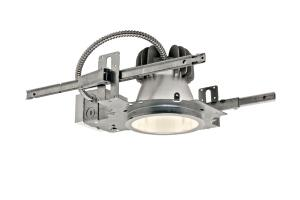 "Gothams ALED direct LED downlight includes a 6"" aperture with an open reflector, and an LED engine with a 3,500 K or 4,100 K color temperature and 50,000-hour rated life span. The housing accommodates a maximum 1-1/2"" ceiling thickness. Five colorsclear, pewter, wheat, gold, and whiteare available for the 7-1/2""-diameter overlapping trim. gothamlighting.com"