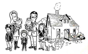 Cartoon showing Bill Hayward's family on Hayward Healthy Homes website