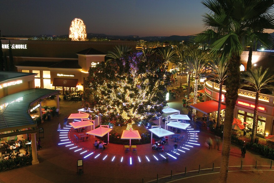 "The ""Clock"" at Irvine Center is a custom architectural lighting installation commissioned by Irvine Spectrum Center and designed by Matt Levesque of First Circle Design of Newport Beach, Calif."