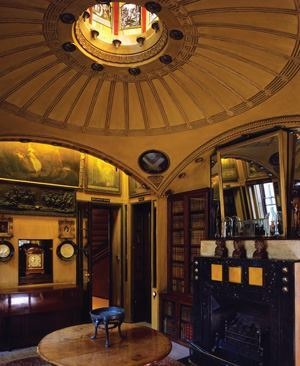 "Soane described the breakfast room at No. 13 Lincoln's Inn Fields, as ""a succession of fanciful effects, which constitute the poetry of architecture."" A light, shallow dome stretches across the center of the room and is illuminated by an octagonal skylight filled with panels of colored glass."