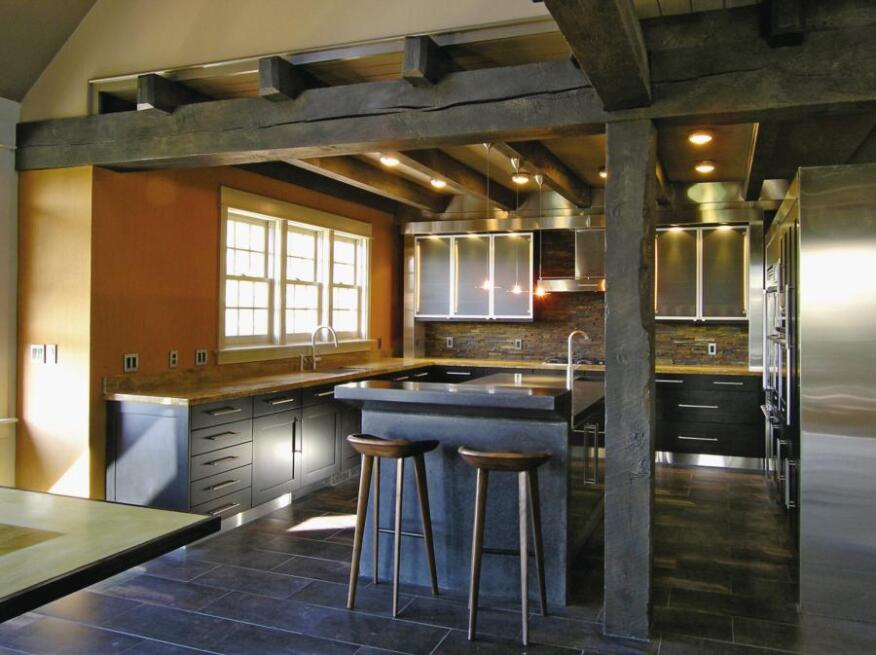 Fitting a modern kitchen design into a rustic style home for Foreign kitchen designs