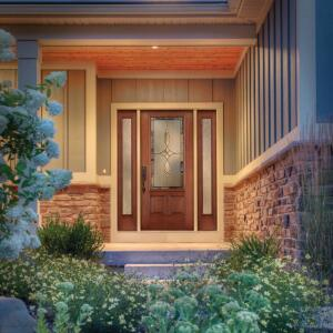 THERMA-TRU. The Energy Star-qualified Fiber-Classic Mahogany Collection three-panel door features the affordability of a fiberglass door with the look of premium mahogany graining. The doors feature U-factors as low as 0.18 and a SHGC starting at 0.05 and will not rot, warp, or fade, the company says. They come in fire- and impact-rated versions with four new privacy glass options and 17 decorative designs for the doorlites. 800.843.7628. www.thermatru.com.