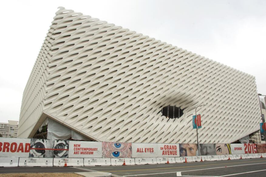 Comprised of steel and 2,500 fiber-reinforced concrete panels, The Broad's exterior, free of scaffolding, is now visible.