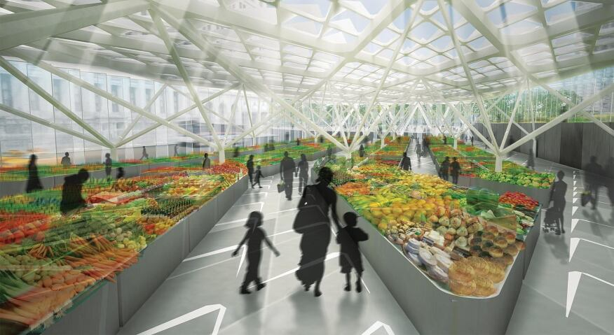 A scheme by Architecture Research Office covers the approach to the Brooklyn-Battery Tunnel with a public market hall—with a louvered roof for passive lighting and cooling—where local farmers can sell their wares. This market hall is connected to a green space and a public plaza, creating three separate-yet-connected spaces that will encourage tourists and residents to spend more time in Lower Manhattan.