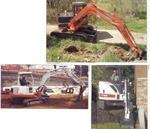 Top: With offset digging, compact excavators are able to keep their tracks parallel to the cut and stay off soft ground. Bottom, left: Compact excavators are perfect for small cuts onsite. Bottom, right: The ability to dig in the offset position is one of the compact excavator's great strengths.